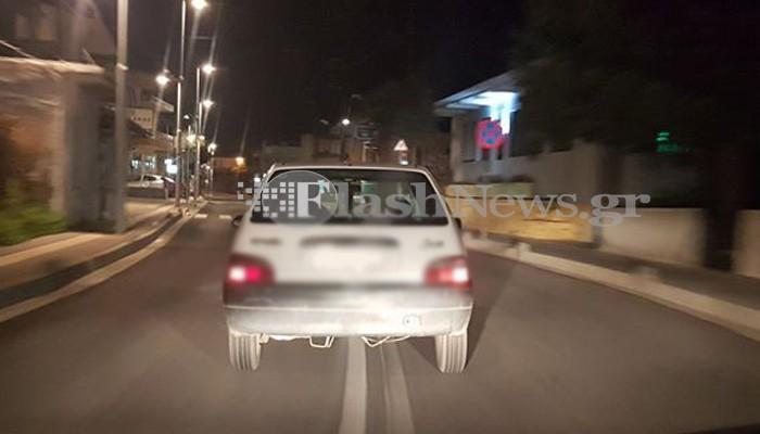 Οδηγούσε καταμεσής του δρόμου στο κέντρο του Ρεθύμνου (φωτο)