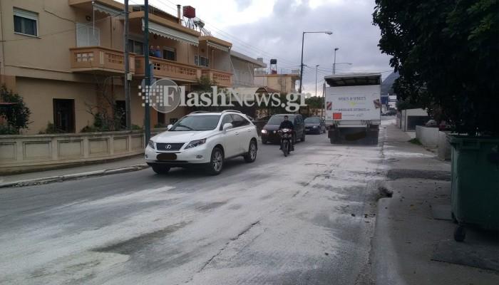 Λάδια στη λεωφόρο Σούδας Χανίων - Με προσοχή οι οδηγοί