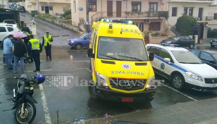 Τροχαίο με τραυματισμό κοπέλας στην οδό Παπαναστασίου στα Χανιά (φωτο)