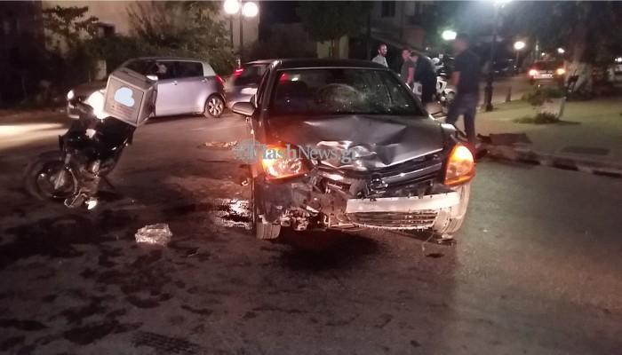 Τροχαίο στα Χανιά: Οδηγός ντελίβερι συγκρούστηκε με αυτοκίνητο(φωτο)