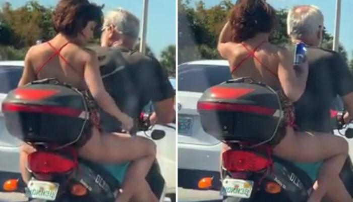 Γυναίκα ξύριζε τα πόδια της πάνω σε μηχανάκι