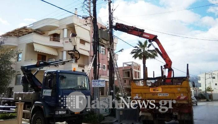 Έκρηξη σε υποσταθμό προκάλεσε τις διακοπές στην ηλεκτροδότηση στα Χανιά (φωτο)