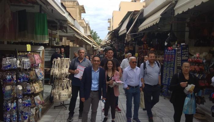 Περιοδεία της Λαϊκής Συσπείρωσης με επικεφαλής τον Δ. Βρύσαλη στο κέντρο του Ηρακλείου