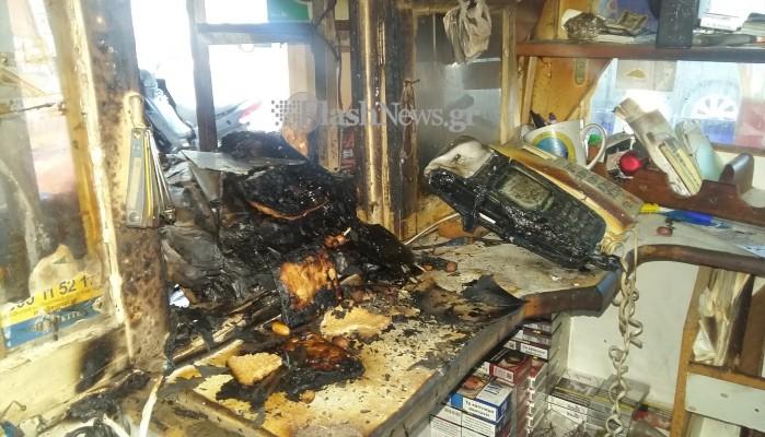 Έκλεψαν και στη συνέχεια έβαλαν φωτιά και έκαψαν περίπτερο στα Χανιά (φωτο)