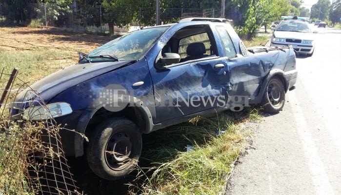 Αυτοκίνητο κατέληξε σε χαντάκι μετά από τροχαίο στα Χανιά (φωτο)