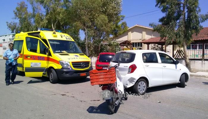 Τροχαίο ατύχημα με τραυματισμό οδηγού δικύκλου στην Σούδα (φωτο)