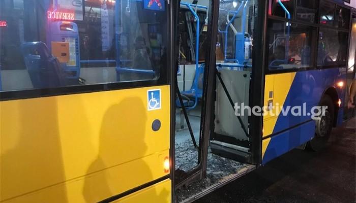 Έκαναν γυαλιά - καρφιά λεωφορείο του ΟΑΣΘ