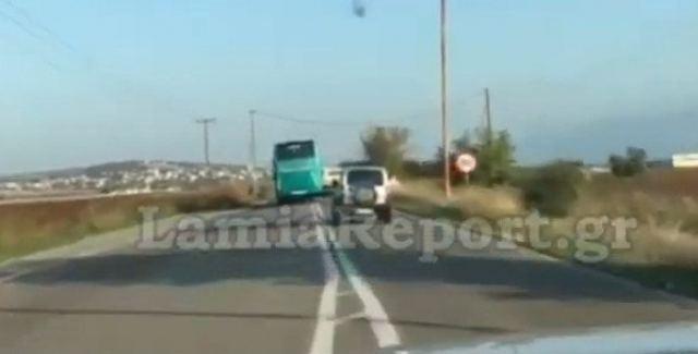 Λαμία: Οδηγός του ΚΤΕΛ κάνει επικίνδυνες προσπεράσεις (βίντεο)
