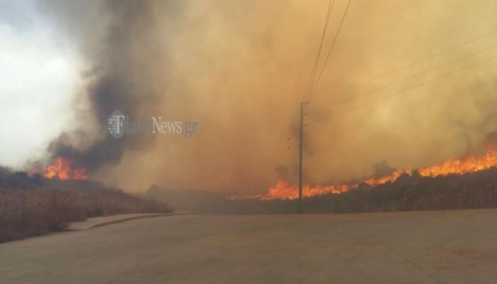 Πυρκαγιά στο Ρέθυμνο - Κινδύνευσαν σπίτια (φωτο + βιντεο)