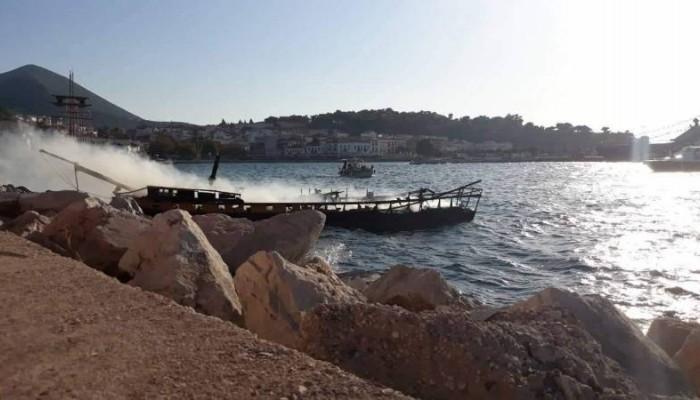 Κάηκε σε ατύχημα νωρίτερα το πλοίο για την αναπαράσταση της Ναυμαχίας του Ναβαρίνου