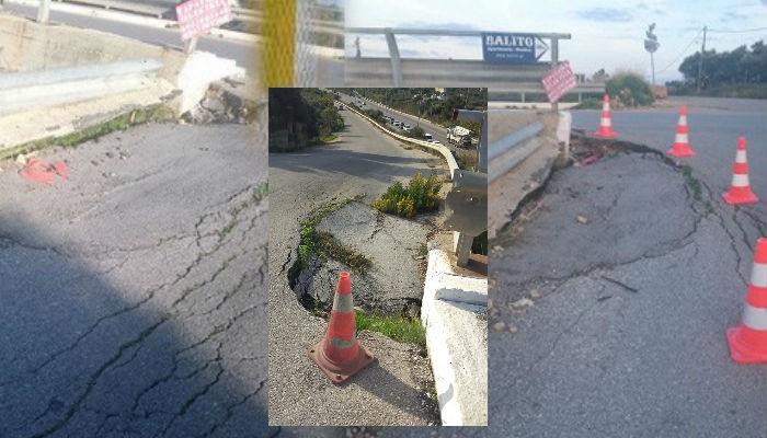 Η επικίνδυνη καθίζηση στην γέφυρα Γαλατά γίνεται 4 ετών!