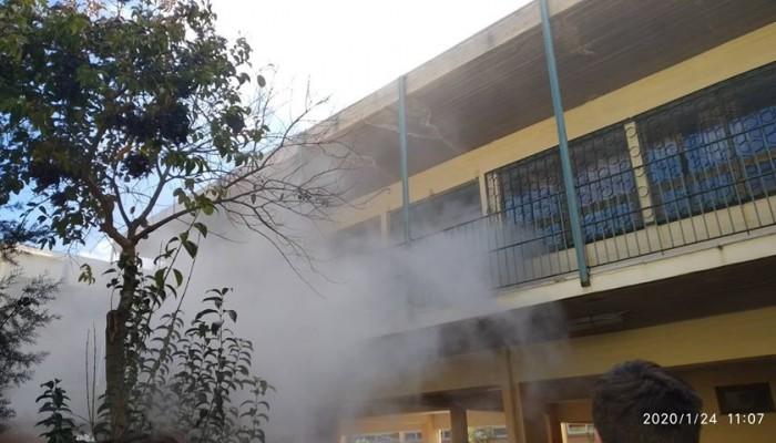 Αναστάτωση στο γενικό λύκειο Ακρωτηρίου από φωτιά (φωτο)