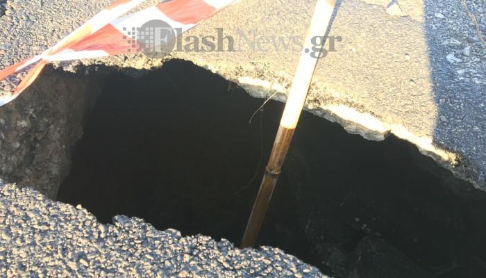 Προσοχή! Μεγάλη τρύπα σε κεντρικό δρόμο στο Καλαμάκι (φωτο)