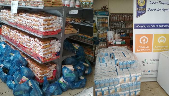 Προσφορά τροφίμων από τα Σούπερ Μάρκετ SYNKA στο κοινωνικό παντοπωλείο Δήμου Χανίων