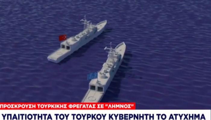 Έτσι προσέκρουσε η φρεγάτα Λήμνος στην τουρκική – Προς Ελλάδα η πλωτή βάση των ΗΠΑ