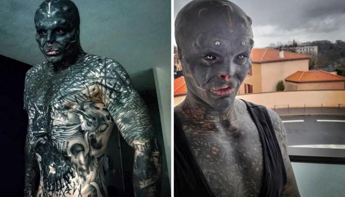 Άντρας γεμάτος τατουάζ αφαίρεσε τη μύτη και το πάνω χείλος για να γίνει «μαύρος εξωγήινος»