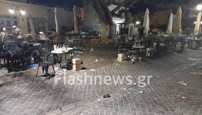 Τραγικές καταστάσεις με τα νυχτερινά πάρτι σε πλατεία στα Χανιά (φωτό)