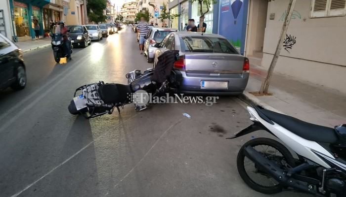 Τροχαίο ατύχημα στα Χανιά - Μηχανή παρέσυρε παιδάκι (φωτο)