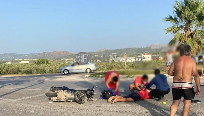Χανιά: Σοβαρό τροχαίο ατύχημα στο Καστέλι - Δίκυκλα συγκρούστηκαν μετωπικά (φωτο)