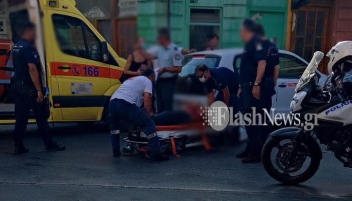 Τροχαίο ατύχημα στα Χανιά - Συγκρούστηκε αυτοκίνητο με μηχανάκι