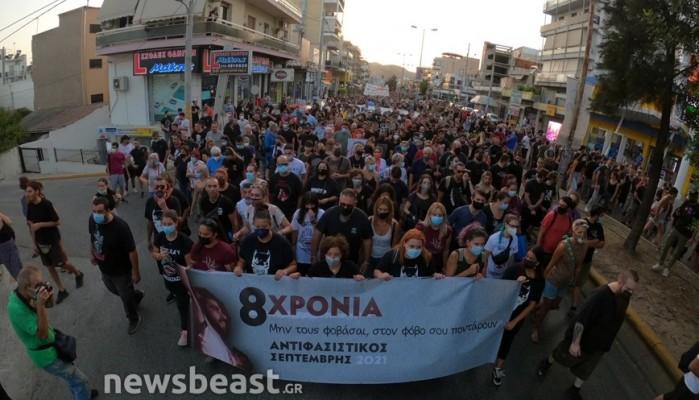 Παύλος Φύσσας: Μεγαλειώδης πορεία για τα οκτώ χρόνια από τη δολοφονία του στο Κερατσίνι