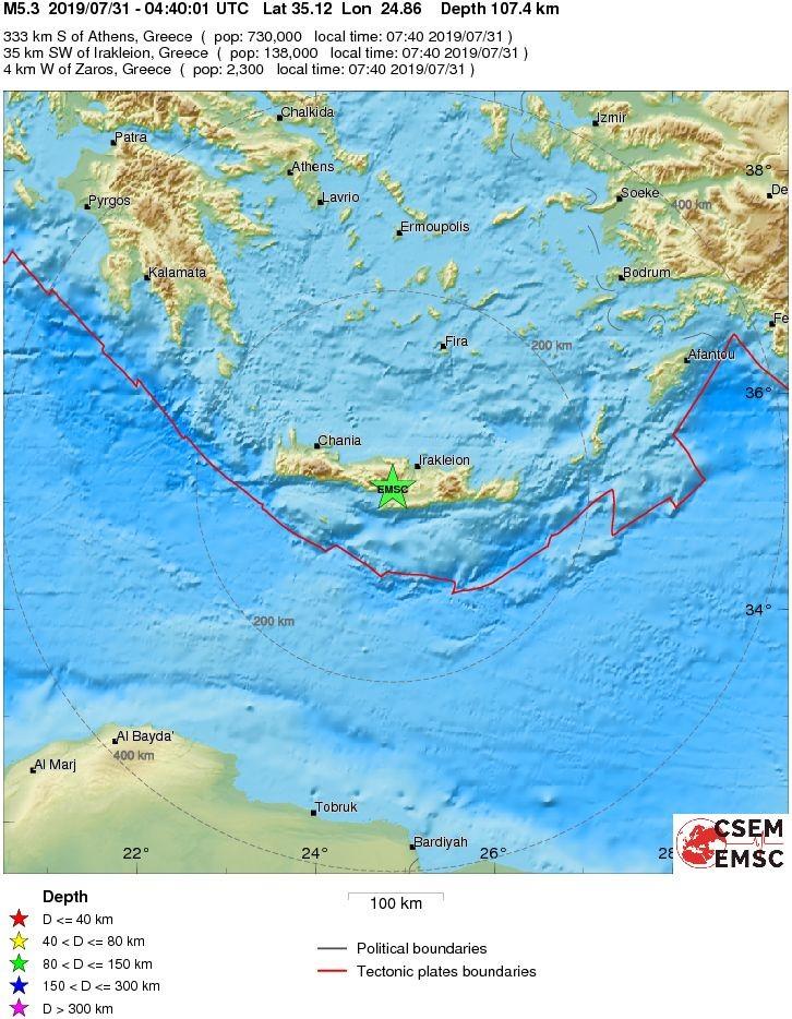 На Крите недалеко от г. Ираклион произошло землетрясение